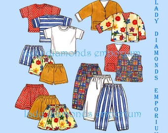 New Look 6398 Boys & Girls Pullover Tops Pants Jacket Vest Shorts Skirt size 2 3 4 5 6 7 Spring Summer Play Clothes Pattern Uncut FF