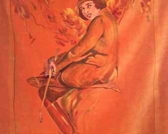 Vintage 1920s Hand-Painted Portrait on Velvet Autumn Equestrienne
