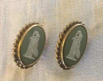 Vintage Wedgwood Full Figure Cameo Jasperware Earrings Screwback