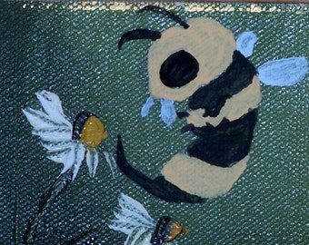flowers & monster bee: monstered thrift store painting