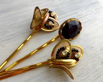 Black and Gold - Vintage Rhinestone Jewel Hair Pin Collection