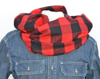 Red and Black Buffalo Plaid Infinity Scarf, Flannel Infinity Scarf, Christmas Scarf, Holiday Gift