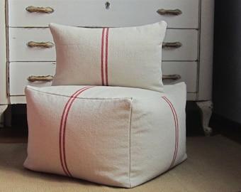 Grain sack pouf cover, 20x20x15, large square pouf, beige pouf, farmhouse floor cushion, cottage chic pouf, bean bag pouf, foot stool