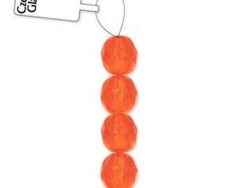 6mm Orange Firepolish Glass, 6mm Faceted Orange Glass, 6mm Firepolish Glass, 6mm Orange Firepolish, 6mm Orange Firepolish, Orange Faceted