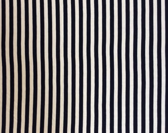 Navy and White Stripe - lightweight knit fabric