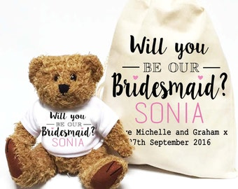 Will you be our Bridesmaid? Personalised teddy bear gift | Wedding day favour gift.