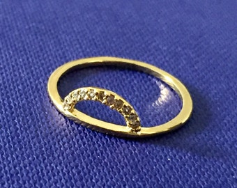 Pave crystal stack ring in gold/clear sz 6