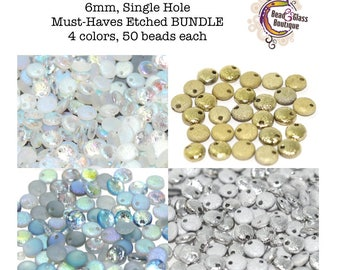 Czech Glass Lentil Etched Bead BUNDLE, Single Hole, 6mm, 4 colors, approx 50 beads each, Must-Haves Etched Bundle