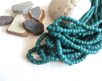teal seed bead, teal glass bead, opaque green blue beads, small barrel tube spacer, New Indo-pacific 3 to 5mm / 22 inche strand - 5A4-33