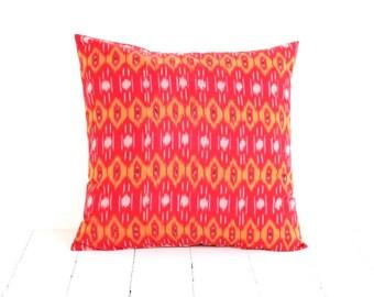 16 x 16, Pillow, Cushion, Ikat, Cotton, Red