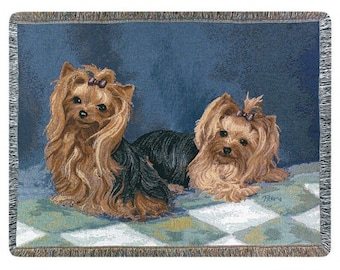 Personalized Yorkshire Terrier Yorkie Dog Throw Blanket