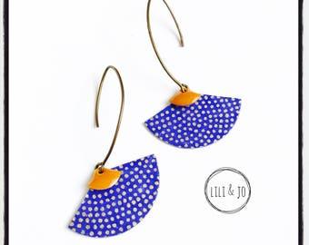 Vintage collection: shape earrings blue fan with gold dots in Orange mustard yellow enamel