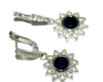 925 Solid Silver Earrings Of Natural Blue Sapphire, 925 Sterling Silver Earring, Fine Silver Blue Sapphire Loose Gemstone Earring for women