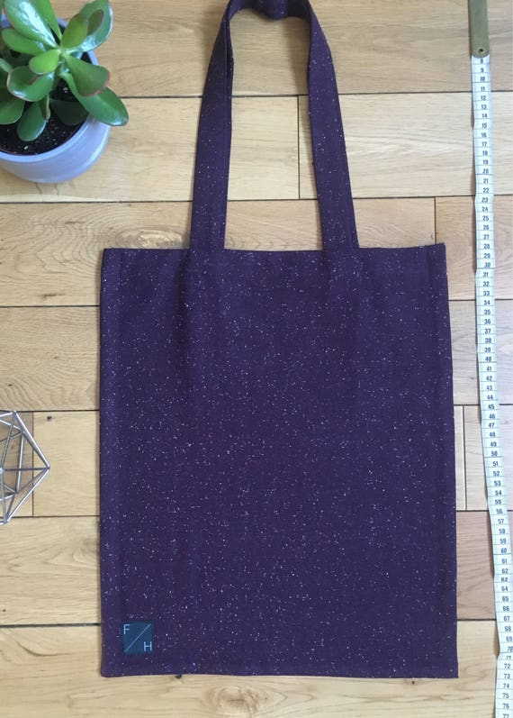 Aubergine burgundy white speck woven wool Tote Bag denim look vintage fabric with zip compartment