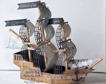 3D SVG Pirate Ship Galleon  DIGITAL download