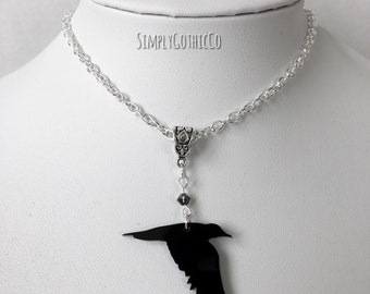 ONE OFF- Gothic Flying Crow Necklace