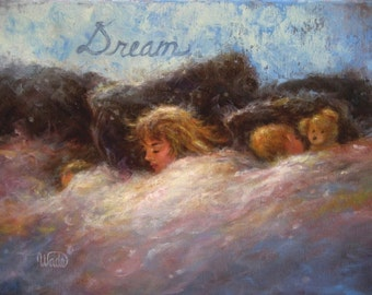 Children Sleeping Painting ORIGINAL Mother and Two Boys 11X14 sleeping Mother and big sister children bedroom, nap time, Vickie Wade Art