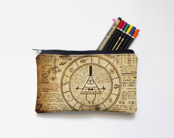 bill,gravity falls, Zipper Pouch, Pencil Pouch, Pencil Case,adventure time