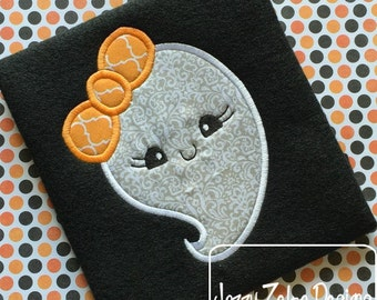 Ghost Girl with bow 110 Applique Embroidery Design - ghost appliqué design - girl appliqué design - Halloween appliqué design