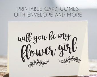 printable flower girl card, flower girl cards, printable card for flowergirl, instant download flower girl