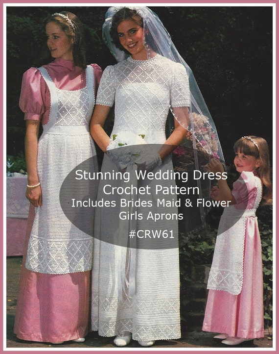 Wedding Dress Crochet PATTERN Bridal Aprons Bridal Flower Bouquet Patterns #CRW61- Mailed Copy Also Available Inquire-DurhamDeals