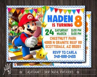 Super Mario White Invitation, Super Mario Invitation, Super Mario Birthday Party Invitation, Mario Bros Invitation, Luigi, Yoshi, Mario
