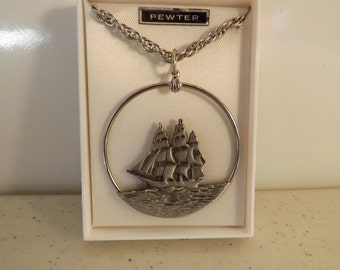 Pewter Sale Ship Boat Necklace