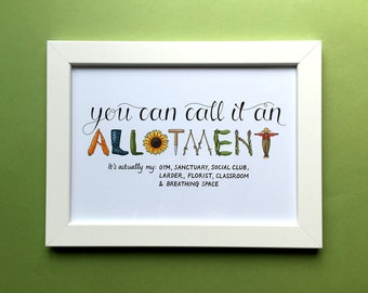 Allotment print, hand lettered and illustrated typographic print for framing, A4.