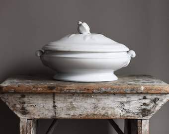 Antique Ironstone Tureen, White Ironstone Serving Dish, Lidded Compote,  Kitchen & Dining, Wedding Gift