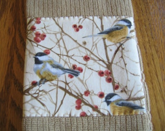 SALED PRICED - Appliqued Terry Towels in a Chickadee Pattern - Set of 2