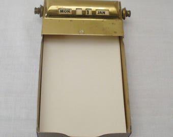 Vintage Park Sherman Brass Calendar Notepad