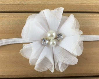 White baby Headband, White flower headband, Baby Girl Headband, Baby Headband, Newborn Headband, newborn photoshoot, baby shower
