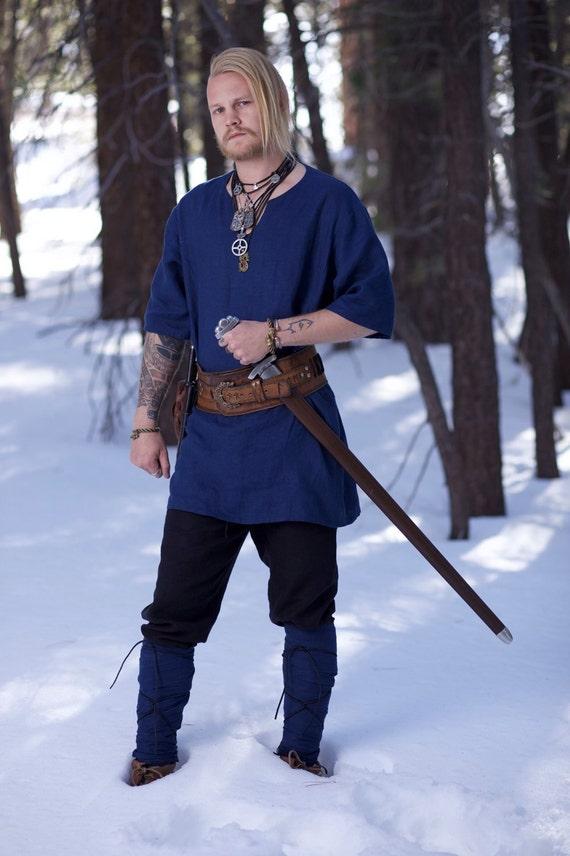 Linen Viking Age Tunic Garb, Norse, SCA, LARP, HEMA Comic Con Blue Celtic Slavic Renaissance, Medieval, Fantasy, Historical, Reenactment