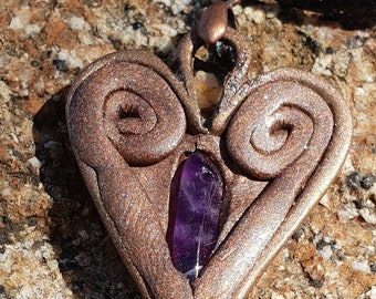 Copper toned polymer heart with amethyst