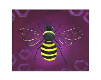 Bumblebee Wall Art ~ Busy Bee on Purple Hive
