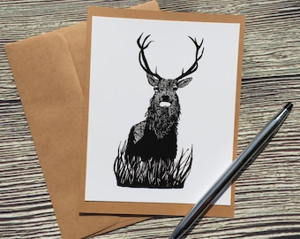 Blitzen Buck Original Ink Drawing Print - Kraft Note Card
