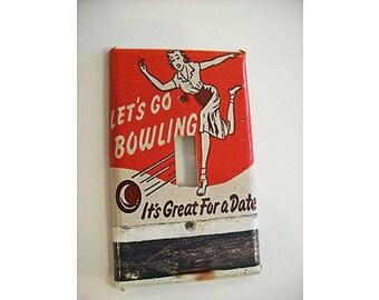 bowling switch plate retro vintage Fifties bowl kitsch light switch rockabilly decor