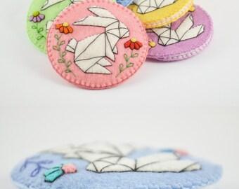 "Origami Rabbit Wool Felt Pocket Mirror Case / 2.25"" Pocket Mirror Felt Case/Handsewn Pocket Mirror Case/ Perfect Fit Felt Pocket Mirror Case"