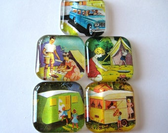 Camping Themed Square Glass Magnets Set of 5