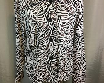 Vintage Dark Brown and White Jacket, Zebra Print by Requirements, Ladies Extra Large Previously Twenty Five Dollars ON SALE