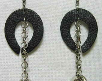Beautiful Cowhide Leather Horseshoe Shaped Earrings, Black with Silver Accent