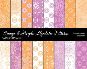 """Orange & Purple Mandala Patterns, 16 Digital Papers 12""""x12"""", Photoshop Pattern File PAT Included, Seamless, Commercial Use  INSTANT DOWNLOAD"""