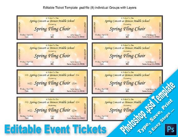Event-Tickets bearbeitbare Photoshop PSD-Vorlage druckbare