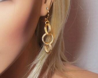 Gold Twist Hoop Earrings Triple Hoops