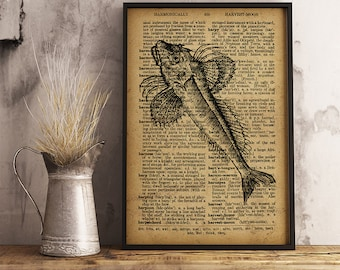 Fishing gift, Gift for Fisherman, Fish art decor, Fish Wall Art, Nautical Wall Art fish print, Nautical print fishing decor (R27)