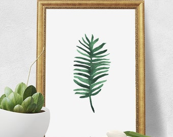 Watercolor Print - Green Fern Leaf Digital Download Art Print