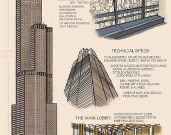 Chicago, Illinois - Willis Tower Technical (Art Prints available in multiple sizes)