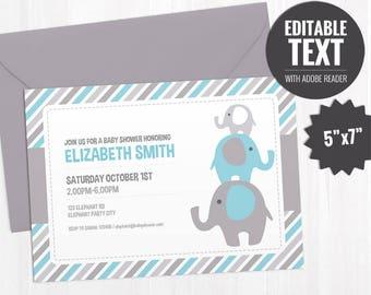 Editable Elephant Baby Shower Invitation Template. Blue Elephant Invite. Blue and Grey Baby Shower Boy Invitation. Printable - Digital