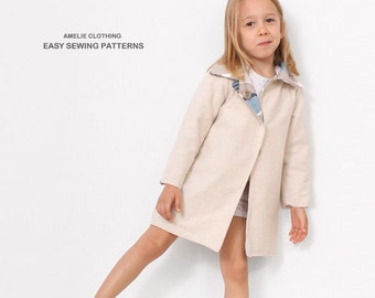 Autumn COAT pattern sewing -  Reversible jacket sewing pattern - sizes from 2T to 7 years