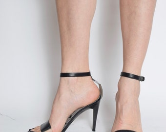 Vintage Strappy Leather and Tranparent Plastic Sandal Heels